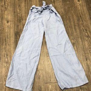 Fresh Laundry Light Blue Linen Wide Leg Pants Sz M